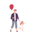 father and his little daughter walking holding vector image