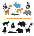 find correct shadow kids game zoo animals vector image vector image
