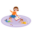 flat cartoon children sitting around woman vector image vector image