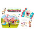 flat circus elements composition vector image