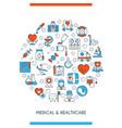 flat line design medical concepte vector image vector image