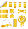 golden ribbons flag and labels set isolated on vector image vector image