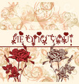greeting valentines day card with roses vector image vector image