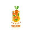 hand drawn logo for organic carrot juice vector image vector image