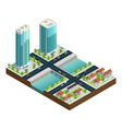 Isometric Skyscrapers And Suburban Houses vector image vector image