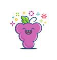 kawaii smiling grape emoticon cartoon vector image