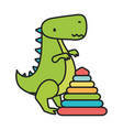 kids toy plastic pyramid and green dinosaur toys vector image vector image
