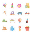 kids toys flat icons vector image