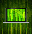 laptop with matrix background vector image vector image