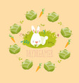 little rabbit dreaming about vegetables vector image vector image