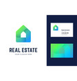logo and business card template for real estate vector image vector image