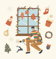 man decorating window with christmas decor switch vector image vector image