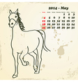 May 2014 hand drawn horse calendar vector image vector image