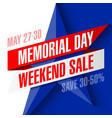 memorial day weekend sale banner vector image vector image