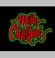 merry christmas hand lettering with neon outline vector image vector image