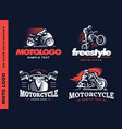 motorcycle shield emblem logo design vector image vector image