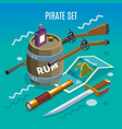 pirate set isometric game background vector image vector image