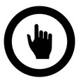 pointing hand icon black color in circle vector image vector image
