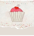 Retro valentine card with cupcake EPS 8 vector image vector image