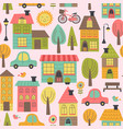 seamless pattern with small town vector image vector image