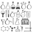 set laboratory research elements with flasks vector image vector image