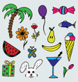 set of lovely hand-drawn stickers isolated vector image