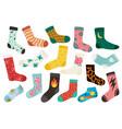 trendy socks cotton stylish long and short vector image vector image