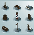 vintage stuff color isometric icons vector image