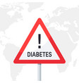 warning diabetes concept in flat style vector image