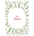Watercolor christmas card with fir branches