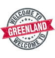 welcome to Greenland red round vintage stamp vector image vector image