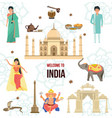 welcome to india traveling architecture vector image vector image