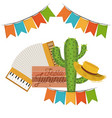white background with cactus and hat and accordion vector image vector image