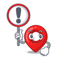 with sign gps navigation pin on character cartoon vector image