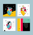the collection covers templates in pop style vector image