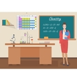 School Chemistry female teacher in audience class vector image