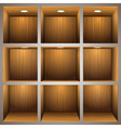 3d wooden shelves vector image