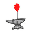 anvil flying balloon sketch engraving vector image vector image