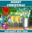 card for the holiday with a glass Christmas balls vector image vector image