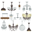 Chandelier various type set Different hanging vector image