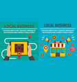 city local business shop banner set flat style vector image