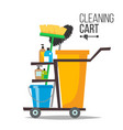 cleaning cart classic trolley cleaning vector image