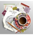 Coffee cup on sketches and paper concept idea vector image