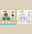 cute police cartoon with little car on bridge vector image