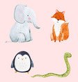 cute watercolor animal set vector image vector image