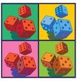 dice in pop art style vector image vector image