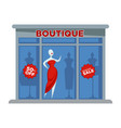 fashion dress boutique facade building or vector image vector image