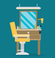 flat barbershop interior and equipment icons vector image vector image