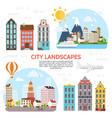 flat city landscape elements set vector image vector image