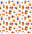 flat coffee stuff pattern seamless vector image